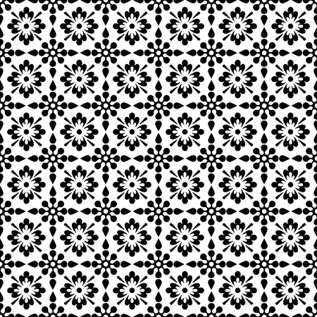Seamless Black & White Floral Background Wallpaper