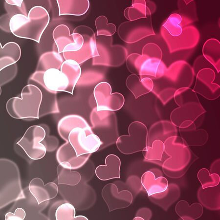 Pink & White Bokeh Hearts Background Wallpaper photo