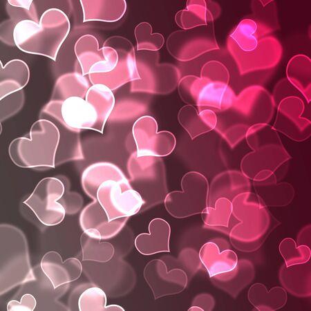 Pink & White Bokeh Hearts Background Wallpaper