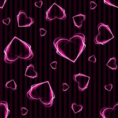 シームレスなピンク光る心背景壁紙