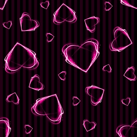 Seamless Pink Glowing Hearts Background Wallpaper Banco de Imagens