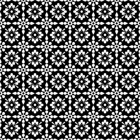 Seamless White   Black Floral Stok Fotoğraf