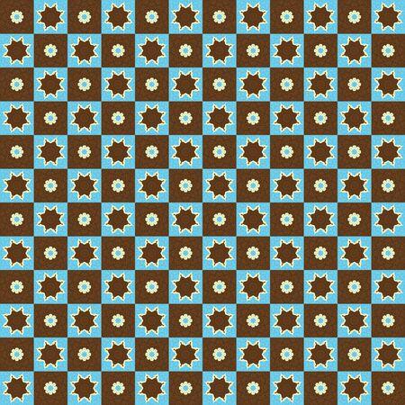 Retro Pattern Stars and Flowers photo