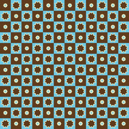Retro Pattern Stars and Flowers photo