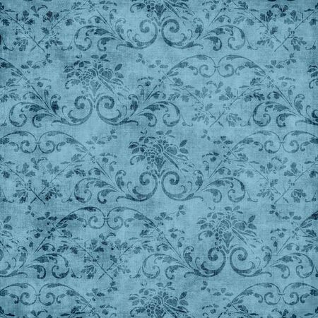 jacobean: Vintage Blue Floral Tapestry Pattern Stock Photo