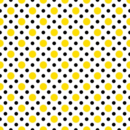 Yellow & Black Polka Dots on White Stock Photo - 15214163