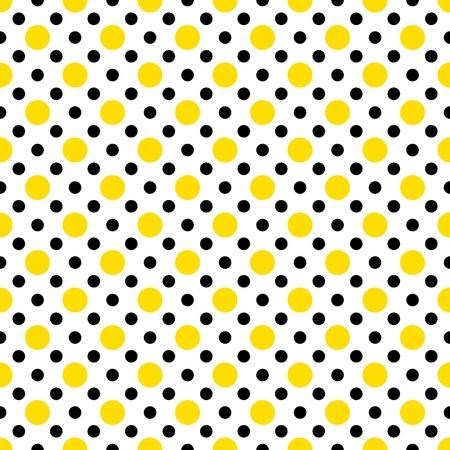 Yellow & Black Polka Dots on White