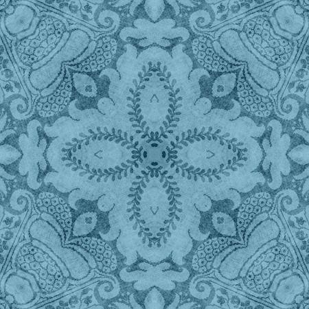Vintage Blue Floral Tapestry Pattern Фото со стока
