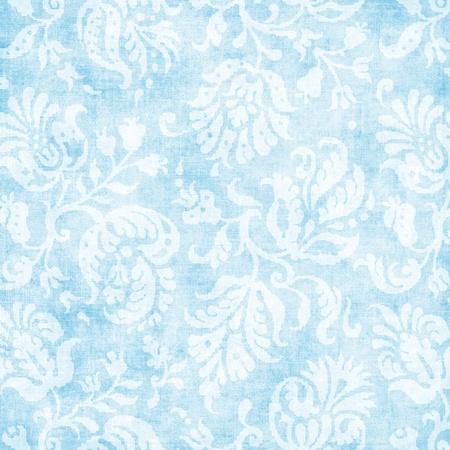 ビンテージの淡いブルー花のタペストリー 写真素材