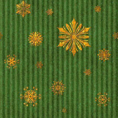 Gold Snowflakes on Green Stripe