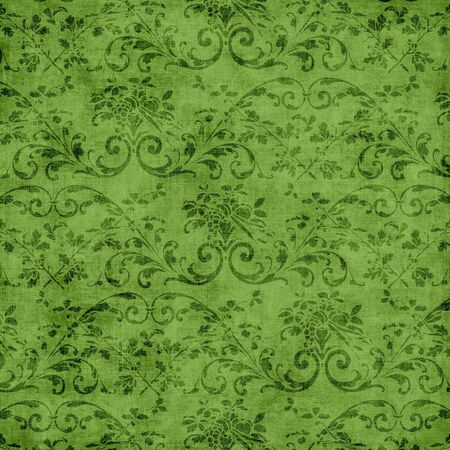 jacobean: Green Floral Tapestry Pattern Stock Photo