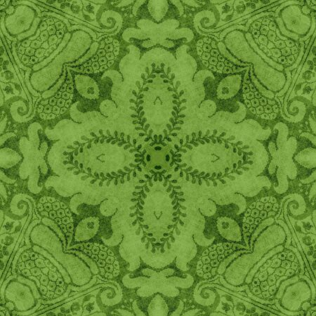 jacobean: Vintage Green Floral Tapestry Stock Photo
