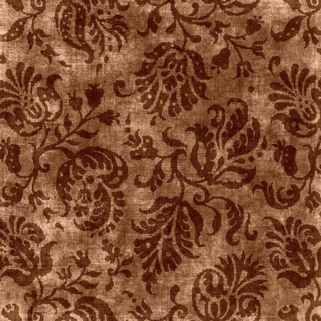 jacobean: Vintage Brown Floral Tapestry Stock Photo