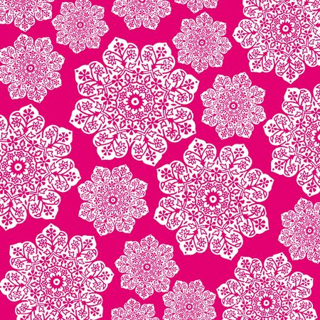 Hot Pink & White Floral Batik photo