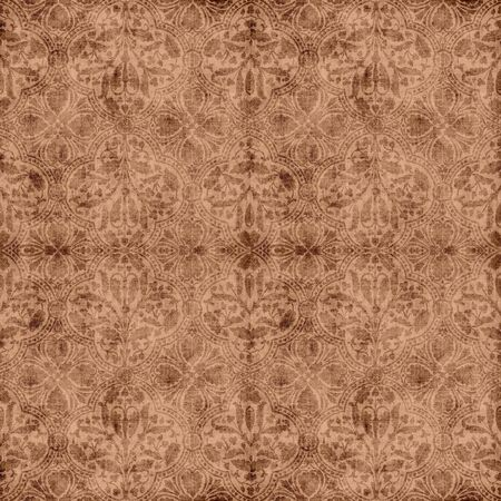 ビンテージの茶色の花のタペストリー 写真素材
