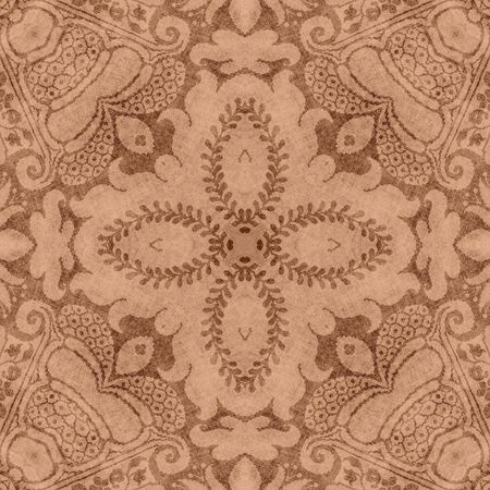 jacobean: Vintage Brown & Tan Floral Tapestry  Stock Photo