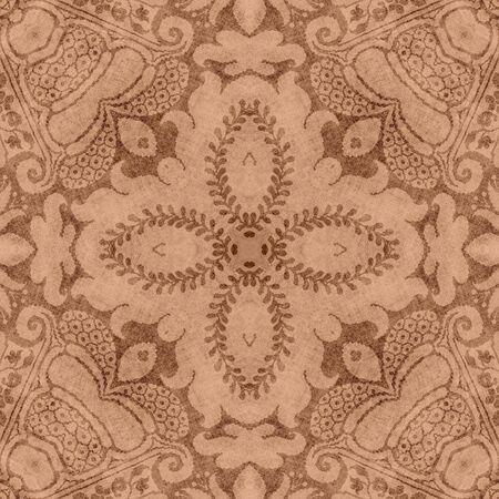 Vintage Brown & Tan Floral Tapestry  Фото со стока