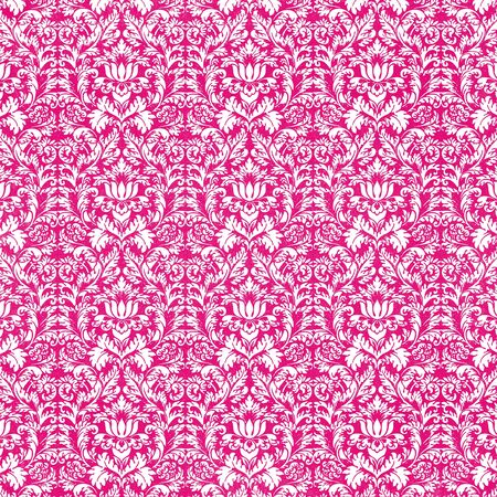 Seamless White & Hot Pink Damask photo