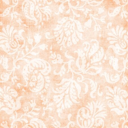 jacobean: Vintage Pale Peach Floral Tapestry Stock Photo