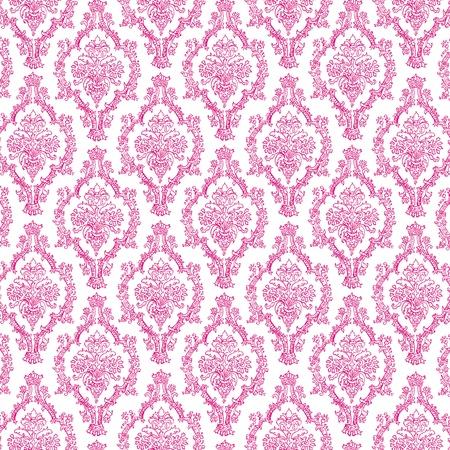 Seamless Hot Pink & White Damask 写真素材