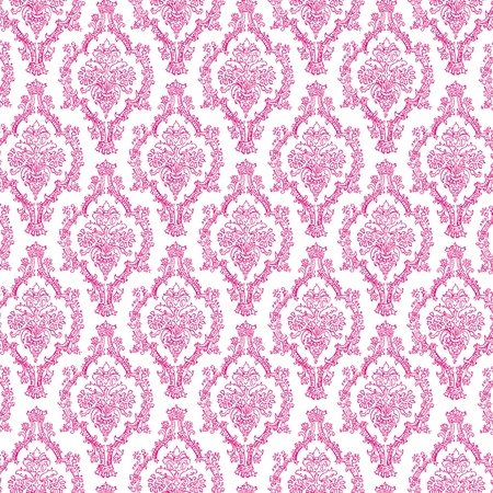 Seamless Hot Pink & White Damask Stock Photo