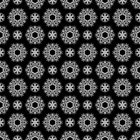Seamless Black & White Kaleidoscope Damask photo