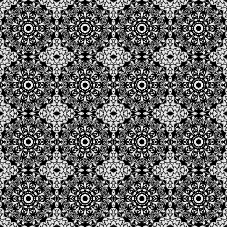Seamless Damask Kaleidoscope Black & White photo