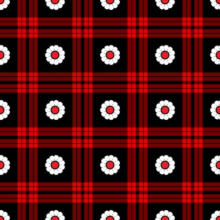 Seamless White Daisy Plaid Pattern photo