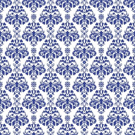 Seamless Blue & White Damask