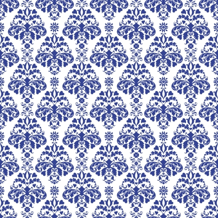 Seamless Blue & White Damask
