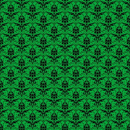 Seamless Green & Black Damask photo