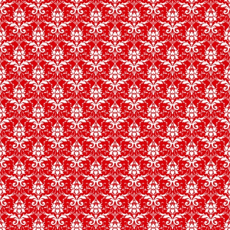 victorian wallpaper: Seamless Red & White Damask Stock Photo