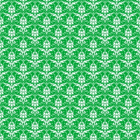 Seamless Green & White Damask photo