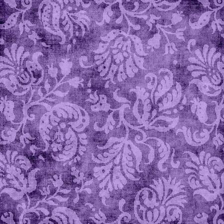 ビンテージの紫花のタペストリー 写真素材