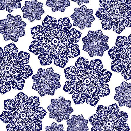 Navy Blue & White Floral Batik