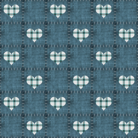 Seamless Faded Denim & Plaid Hearts photo