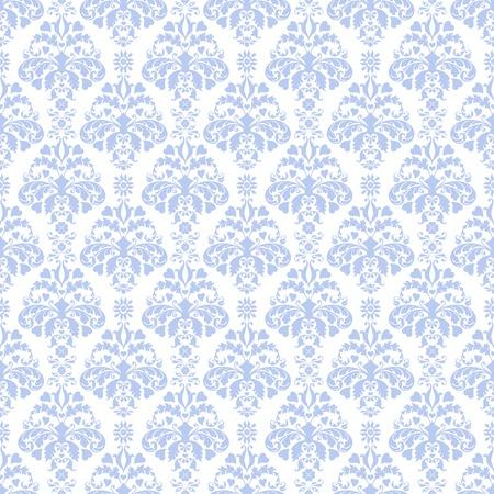Seamless Blue & White Damask Pattern Stock Photo - 17043498