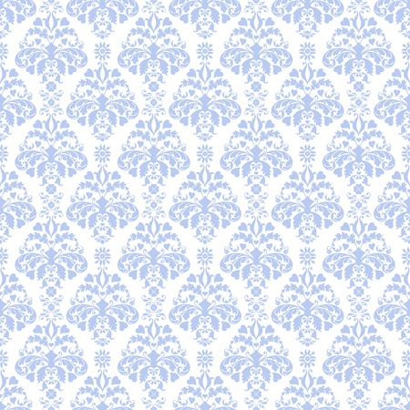 Seamless Blue & White Damask Pattern Stock Photo - 17043498