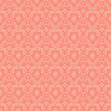 Seamless Pink Damask Background Stock Photo