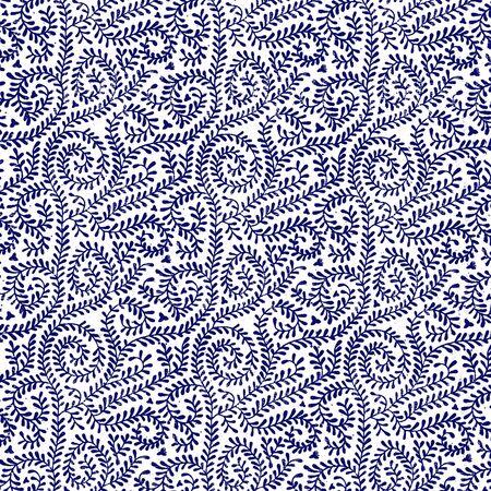 白つるパターンにネイビー ブルー