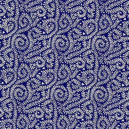 ネイビー ブルーつるパターンで白