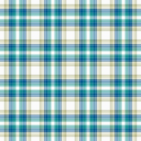 Aqua, Blue, White, & Beige Plaid