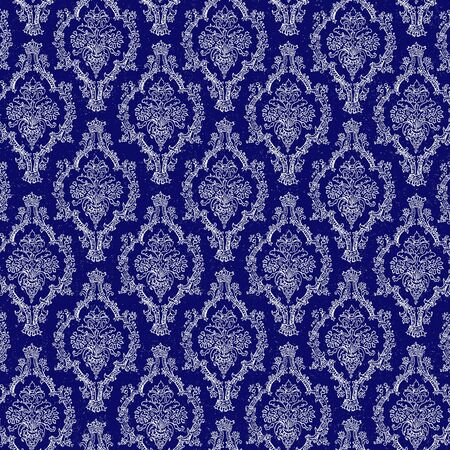Seamless Navy Blue & White Damask Stock Photo - 17192919