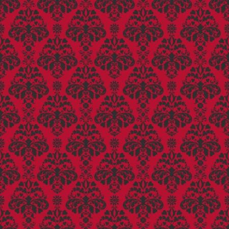 Seamless Cherry Red & Black Damask