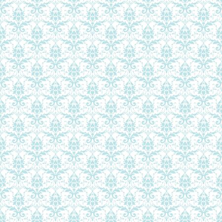 Seamless Pastel Blue & White Damask