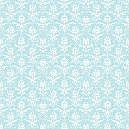 Seamless White & Pastel Blue Damask photo