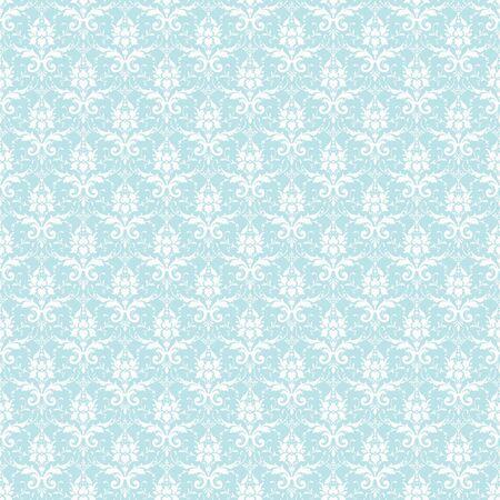 Seamless White & Pastel Blue Damask