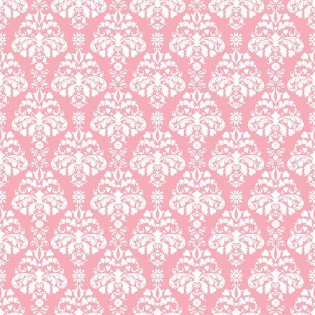シームレスなピンク & 白いダマスク 写真素材