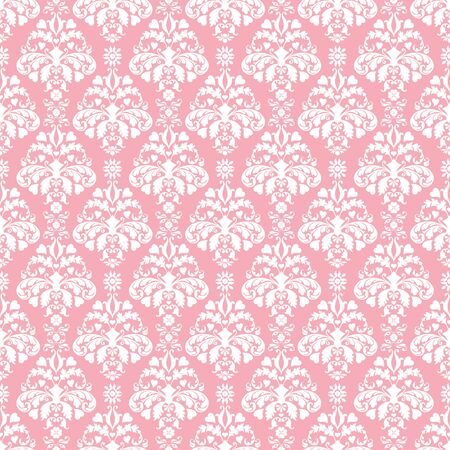 Seamless Pink & White Damask