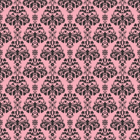 Seamless Pink   Black Damask Stock Photo